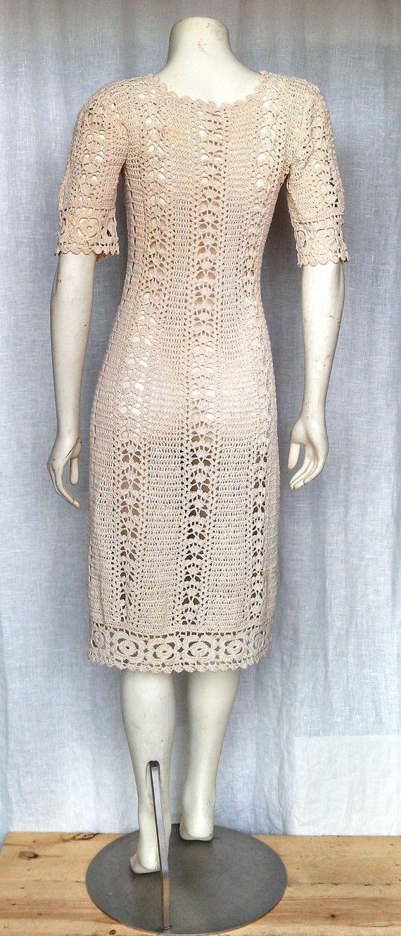 Reserved. Vintage 60's Exquisite Crochet Dress