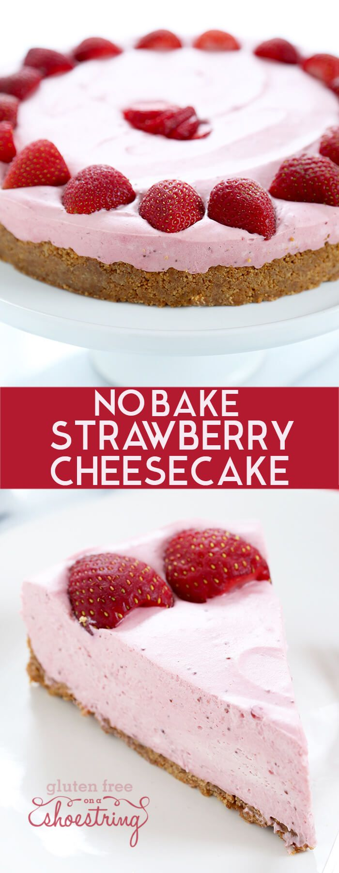 Perfect smooth and creamy no bake strawberry cheesecake, made with strawberries, cream cheese and whipped cream, plus a bit of gelatin and sugar.