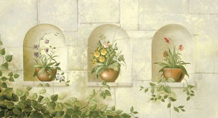 Stone Wall Floral And Botanical Wall Murals