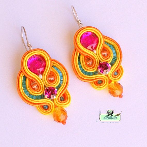 Soutache Earrings  in pink tangerine sunny by DILETTANTEsoutache, $58.00