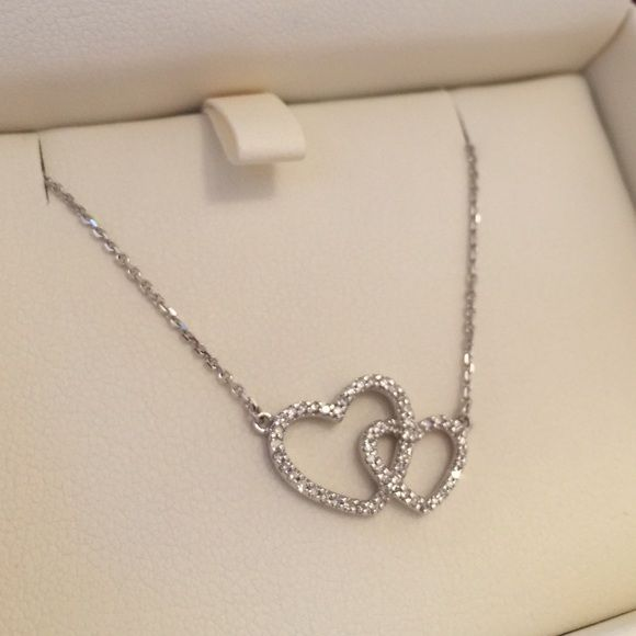 14K Silver Double Heart Necklace New in box, beautiful 14k silver necklace with double heart pendant. Very sparkly. Happy Valentine's Day  Ashoori & Co. Jewelry Necklaces