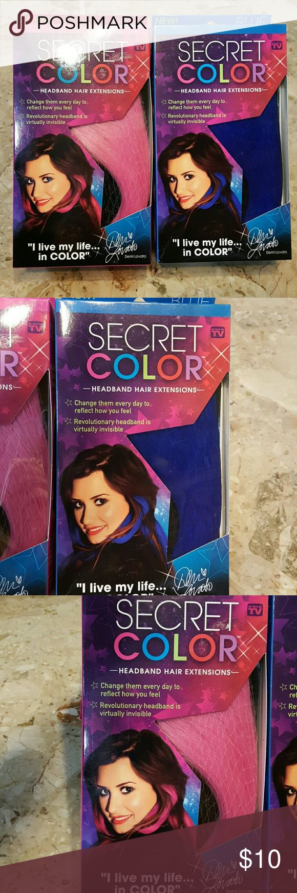 Secret Color Headband Hair Extensions 2 Pack Secret Color Headband Hair Extensions 2 Pack  You will receive 1 PINK extension & 1 BLUE extension.  Endorsed by Demi Lovato.  Boxes are new & factory sealed!! As seen on TV product.  Feel free to ask any questions before purchasing.  Thanks for shopping my closet! Secret Color  Accessories