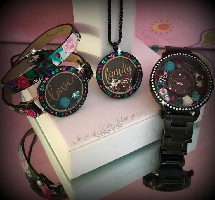 Origami Owl Jewelry - Eye Candy Locket, Black Floral Wrap Bracelet and Black Locket Watch