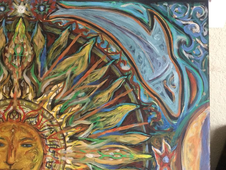 Detail of sun and dolphins canvas