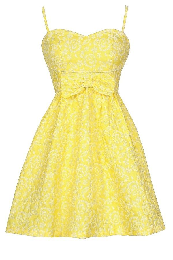 Here Comes The Sun Bow Front Bright Yellow Designer Sundress  www.lilyboutique.com