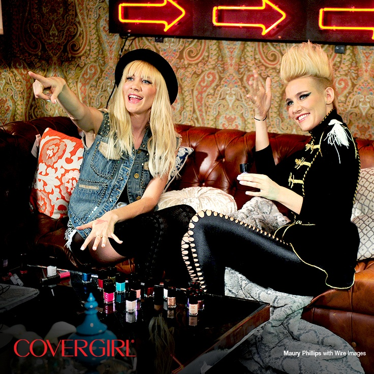 COVERGIRLs NERVO show off their fresh Outlast Stay Brilliant Nail Gloss manicures backstage at the Top DJ's Dance Party hosted by Rolling Stone.