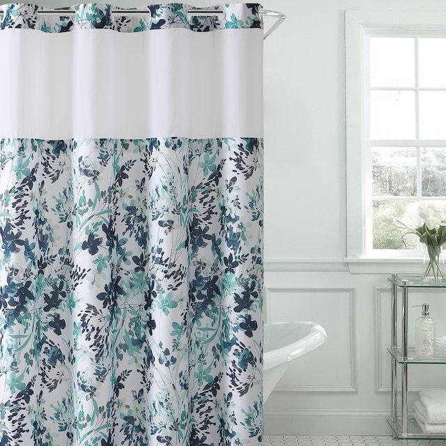 Hookless Watercolor Floral Print Shower Curtain Peva Liner