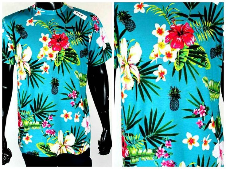 Hawaiian Floral Bright Blues sublimation T-shirt all over print Printed in USA #KDK #SUBLIMATIONTSHIRT