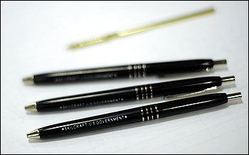 "The basic ballpoint pen stamped with ""U.S. Government"" is a workday staple for millions of military personnel and federal employees. The pen consists of seven different parts and meets 16 pages of military specifications, including that it be able to write for a mile with no fading or smudging and withstand extreme heat and cold."