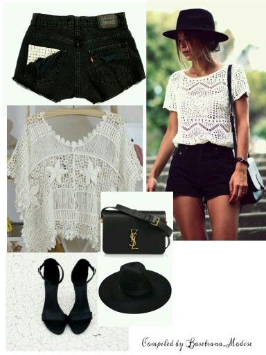 Black and white affairs- knitted lace top it's a must have □