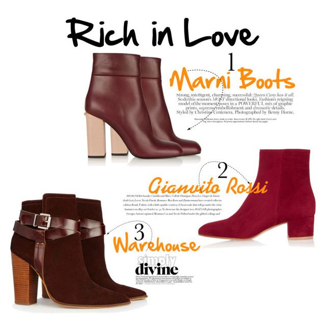 """""""Crushing on Red Boots"""" by nashwynter on Polyvore featuring Warehouse, Marni, Gianvito Rossi and Envi"""