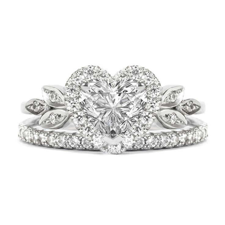 "LOVE !! ""Blossom"" Heart Shaped Diamond Engagement Ring with a Matching Eternity Diamond Band, perfect bridal wedding ring set"