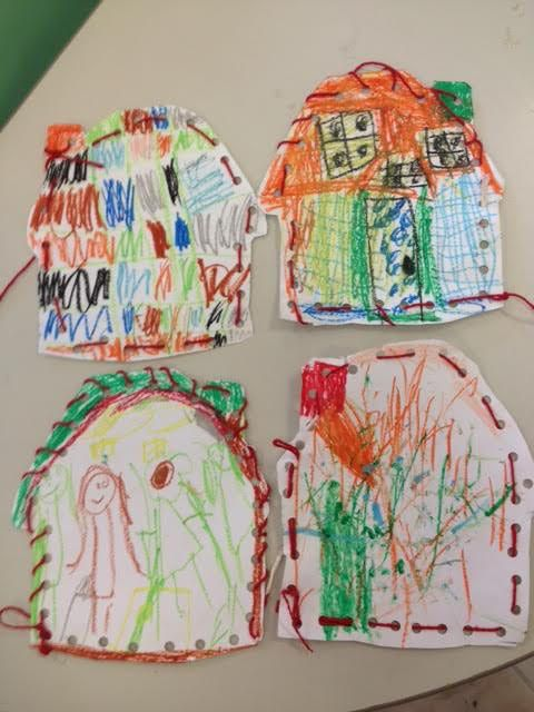 Decorating and lacing Little Red Riding Hood's grandma's house. Fine motor skill.