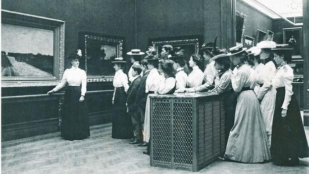 Women visit the Corcoran Gallery of Art around the turn of the century. Historic preservationists in D.C. are trying to get the interior of the museum deemed a historic landmark.