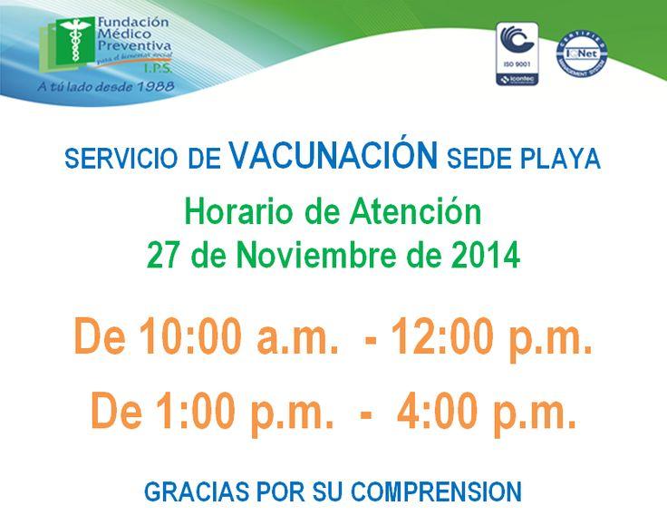 Horario Vacunación Sede Playa