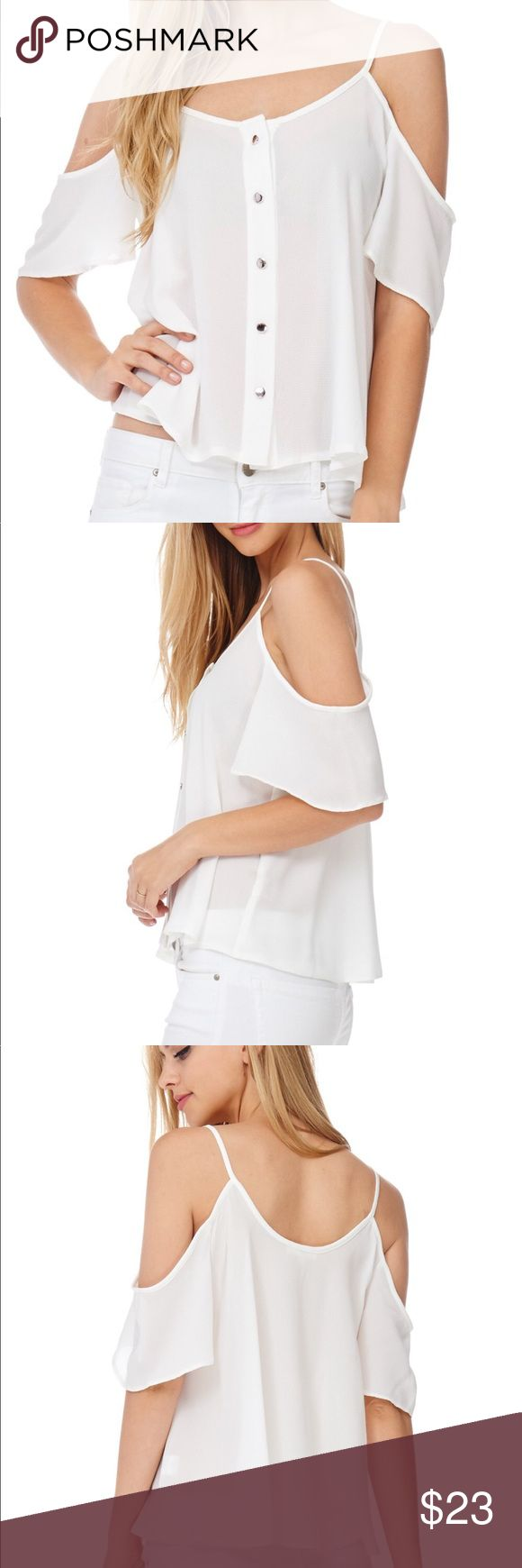 💸Women's chiffon button-up cold-shoulder top Dress this cute white off the shoulder sheer button down chiffon top for any occasion Tops Blouses