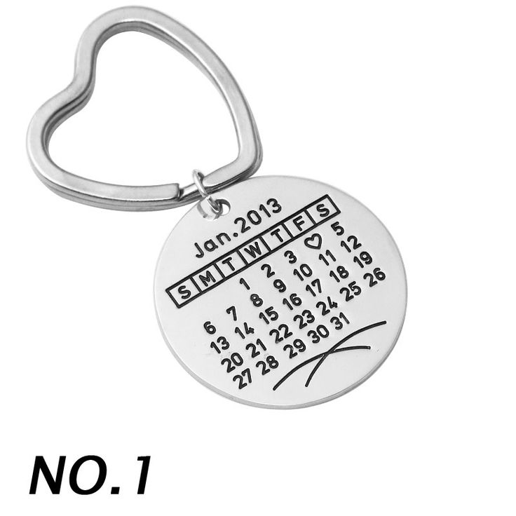 Personalized calendar Keychain, Alloy key ring, Customized Keychain hand stamp special date keyring for husband boyfriend
