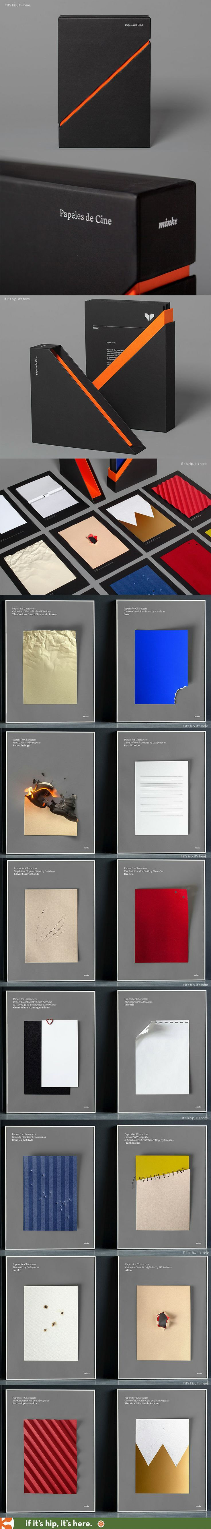 Beautifully boxed series of classic movies as paper art to promote Minke Papers.: