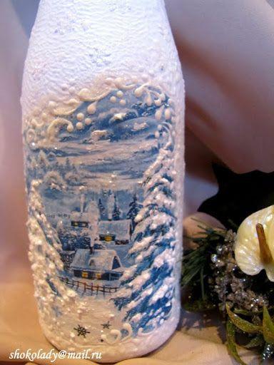 Snow scene on bottle.: