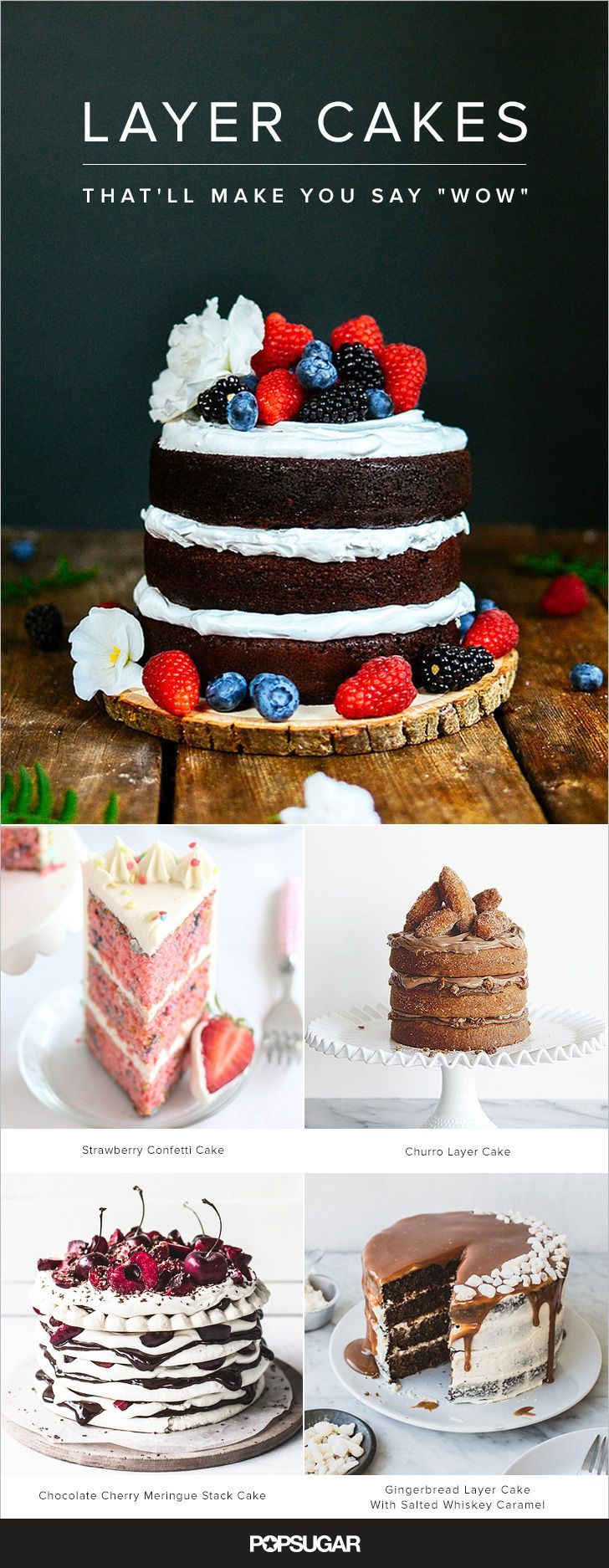 A layer cake is certainly more of an undertaking than many desserts, but nothing quite brings the party like a towering, frosted cake. The next time a celebration is in order, be it a birthday, a baby shower, or any other festive occasion, consider one of these showstopping recipes. Pin a few now so you'll be set for the next occasion.