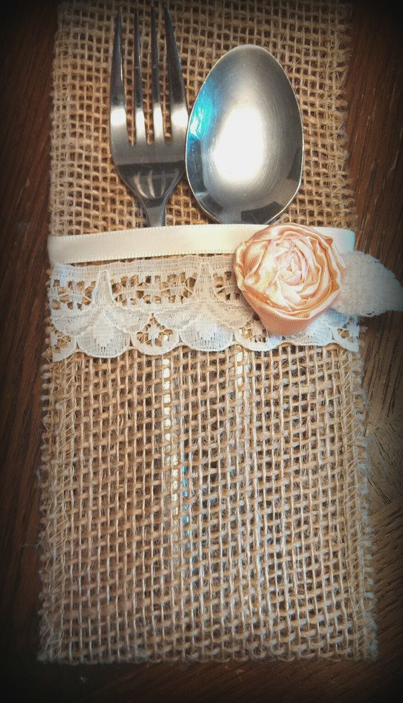 Burlap Utensil Holder Custom Made to Match your Wedding Decor Shabby Chic Country