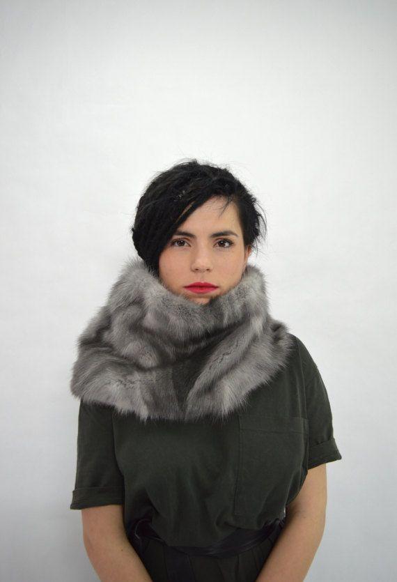 Real fur collar sapphire mink fur cowl real mink tail fur by BeFur