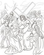 Fourth Station - Jesus Meets His Mother Coloring page