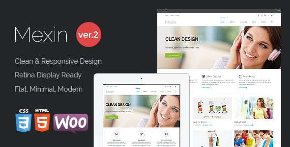 Mexin - Premium Multipurpose Responsive Theme   http://themeforest.net/item/mexin-premium-multipurpose-responsive-theme/5828010?ref=damiamio       Mexin is a Responsive, Retina-Ready Wordpress theme with a minimalist, simple, elegant and clean style, a strong focus on contents and readability. It presents a modern business solution. Mexin is suitable for multipurpose websites such as SmallBusiness, Corporate, Portfolio or Blog. It is superbly responsive adapting to any kinds of smart phones…