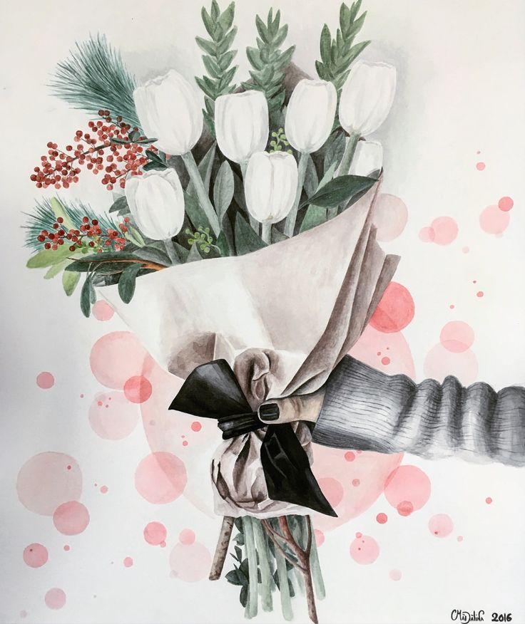 """Bouquet of tulips""  #watercolor #art"