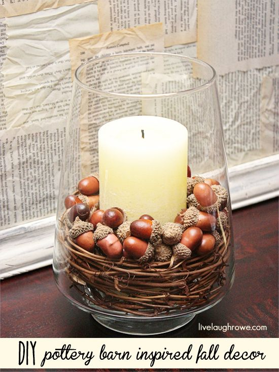 DIY Pottery Barn Inspired Fall Decor with livelaughrowe.com. This is something I will do. I like the look of this. Easy and cheap.
