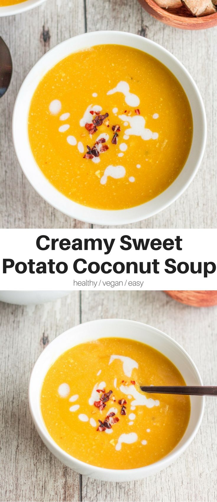EASY Creamy Sweet Potato Coconut Soup with a hint of chili. Super easy & quick, healthy, warming, and SO delicious. The perfect vegan dinner! #healthy #vegan #dinner #recipes