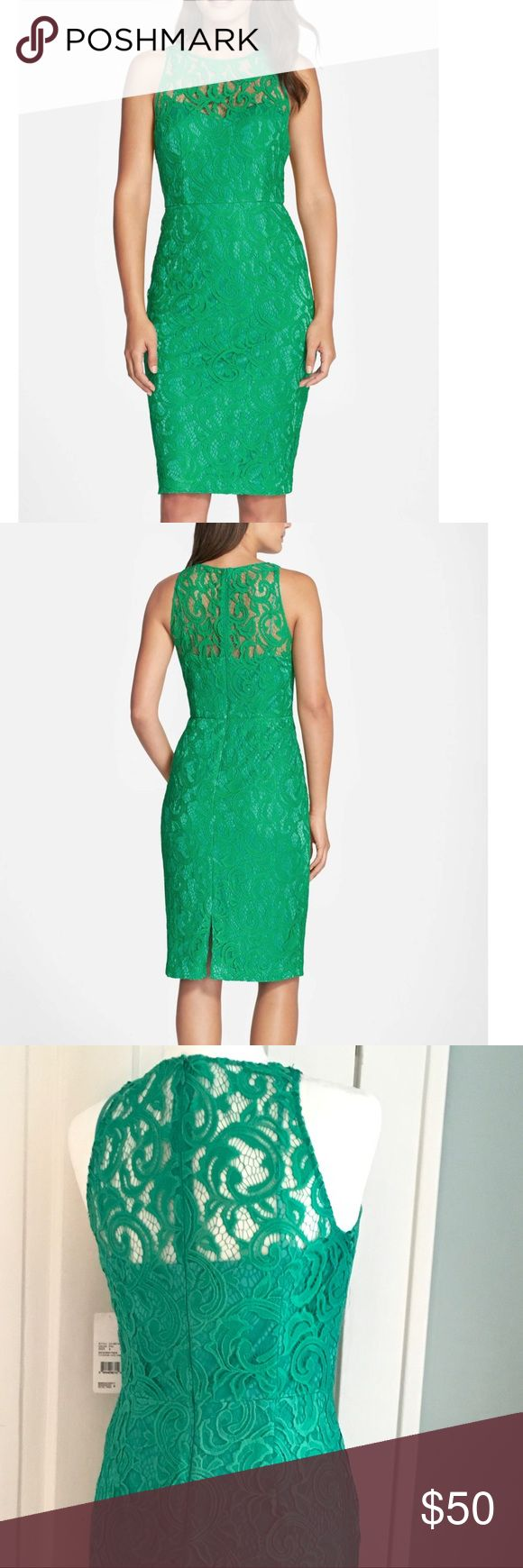 Green Lace Dress:  Hailey Adrianna Papel Feminine and sexy this gorgeous never worn dress features perfect green lace elegantly presented over a tonal aqua sheath beneath-completely lined illusion yolk Adrianna Papell perfect for a Wedding Season Dress! Adrianna Papell Dresses Midi