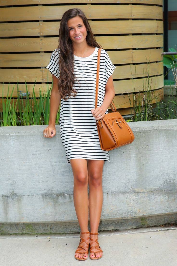 Striped T Shirt Dress  Cognac Sandals  Cognac Bag  Summer ootd ...