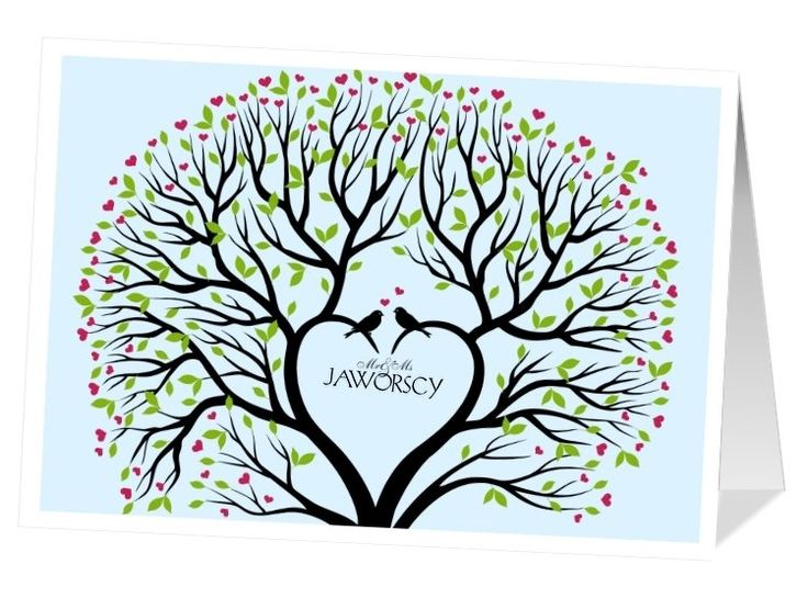 Ślubna kartka w stylu retro, z motywem drzewa. W środku możliwość umieszczenia zdjęcia.