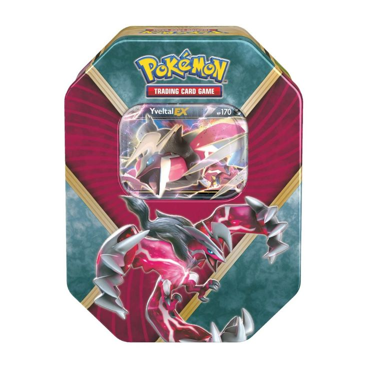 "Yveltal EX Collector Tin 2016 Shiny Kalos Pokemon USA. A great Legendary Pokémon-EX is revealed! Choose the destructive force of Shiny Yveltal-EX in the Pokémon Trading Card Game: Shiny Kalos Tin! This rugged tin contains a mighty Pokémon-EX from the Kalos region—ready to battle and ready to win! Each Pokémon TCG booster pack contains 10 cards. Each player must have a 60-card deck of Pokémon cards to play. Expand your Pokémon Trading Card Game collection with ""10 Additional Game Cards""..."