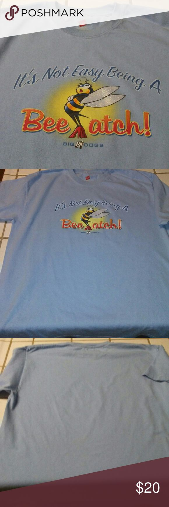 """Big Dogs T-shirt Excellent Condition. Baby blue t-shirt. Measurements: arm pit to arm pit 21.5"""", length 29"""". Seems to run big. Guessing its an XL Big Dogs Tops Tees - Short Sleeve"""