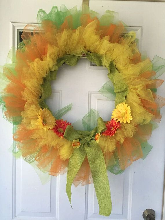 spring tulle wreath it is made on an 18 inch wire wreath frame this makes the wreath lighter and so it doesnt create too much stress or strain on your - Wire Wreath Frame Wholesale