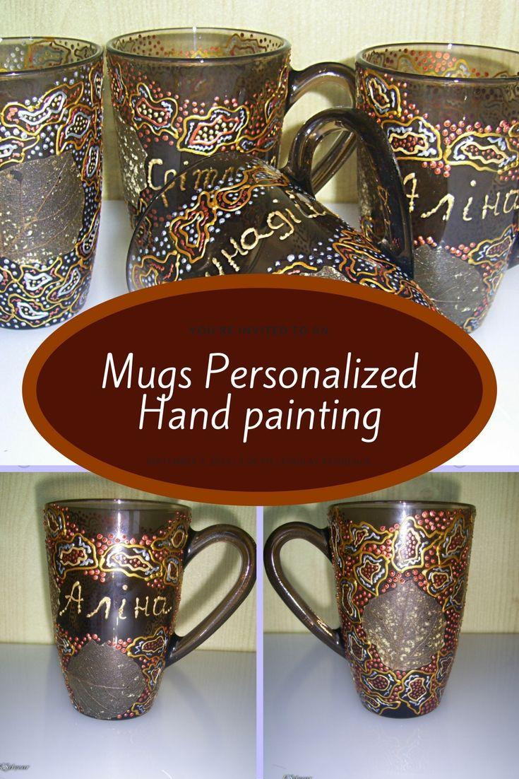 Glass coffee mug Glassware Mug design Tea mug Hand painting Colored glass Christmas present Nice mug Brown cup Skeleton leaves Mugs personalized #custommugs #cutemugs