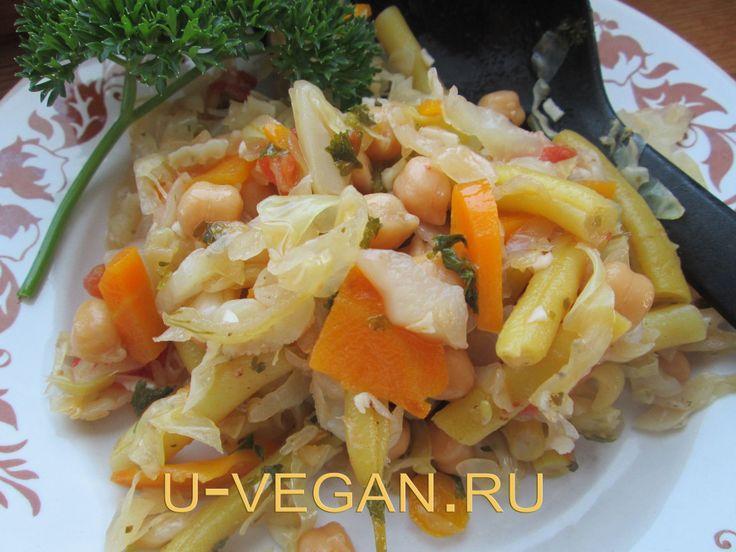 Овощное рагу с нутом. Белковый веганский обед.