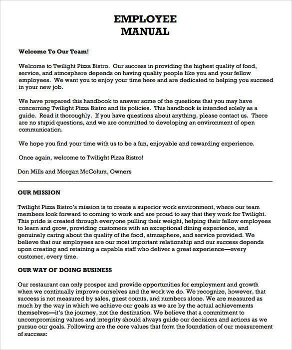 Free Employees Handbook Template Adorable Sample Employee Manual 8 Documents In Word Pdf Of Employee Handbook Template Employee Handbook Templates Free Design