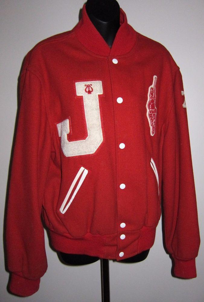 1976 Red Majorette Varsity Band Letter Jacket High School Jackson Wool Blend 42 #Holloway