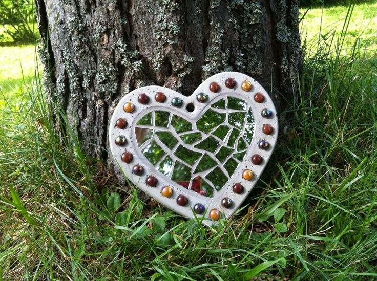 Concrete heart with mirror mosaic
