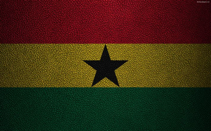 Download wallpapers Flag of Ghana, leather texture, 4k, Ghanaian flag, Africa, flags of the world, African flags, Ghana