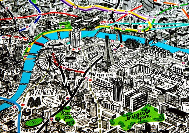 "London by Hand  Illustrator Jenni Sparks' impressively detailed map of ""The Big Smoke"""