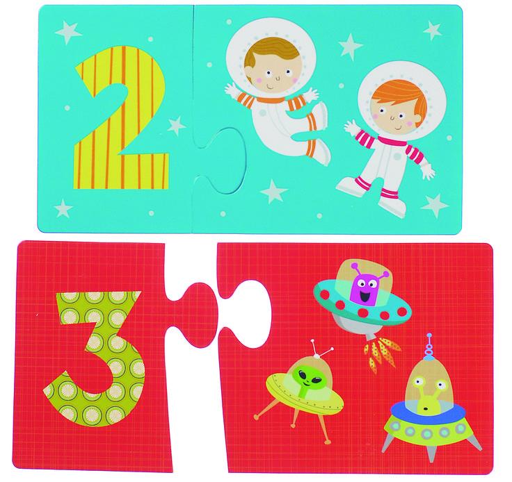 PUZLE DE PARES NÚMEROS DEL ESPACIO Fantástico puzle de fantástica calidad. 20 piezas de cartón gigantes que se puede utilizar como juego de parejas. El tamaño de las piezas (cada par) es de 24x13 son muy grandes y están hechos de manera respetuosa con el medio ambiente porque utilizan en su fabricación se utiliza cartón reciclado, impresos con tintas vegetales  #puzzles #Glottogon  http://www.babycaprichos.com/puzle-de-pares-numeros-del-espacio.html