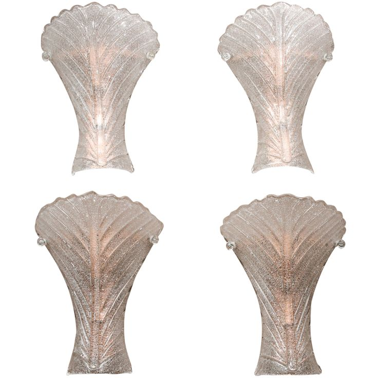 Great Set of 4 Murano Mazzega Wall Sconces | From a unique collection of antique and modern wall lights and sconces at https://www.1stdibs.com/furniture/lighting/sconces-wall-lights/