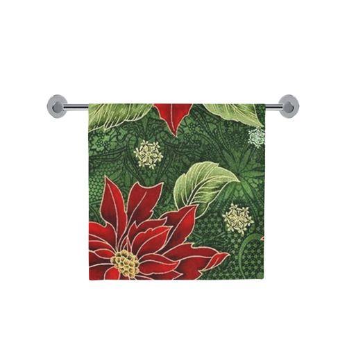 "Elegant Christmas Poinsettia Bath Towel 30""x56"" l Available in 3 sizes."