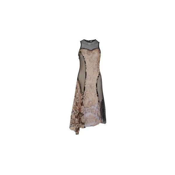 Topshop Lace Fishnet Midi Dress ($125) ❤ liked on Polyvore featuring dresses, formal dresses, lace dress, floral embroidered dress, brown formal dresses and uneven hem dress