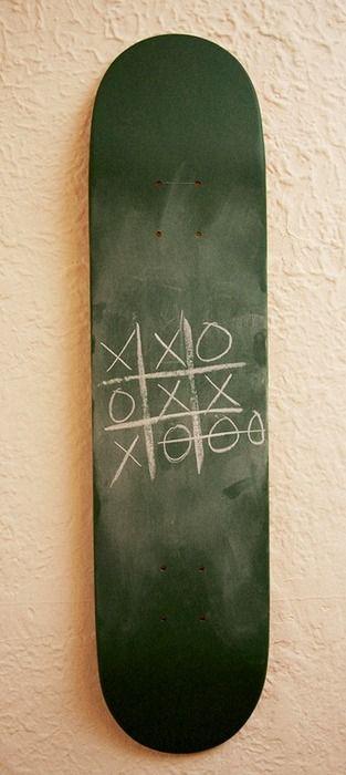 DIY Skateboard as chalkboard - pinned by www.auntbucky.com  #chalk #skate #kids #nursery #baby #boy #DIY
