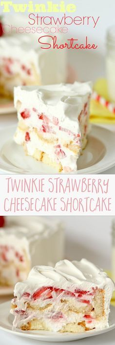 TWINKIE STRAWBERRY CHEESECAKE SHORTCAKE -- in my TOP FIVE desserts of ALL TIME! My grandma made this all growing up and I requested it as my birthday cake EVERY YEAR. No bake, layers of sliced twinkies, cheesecake filling, and strawberries. Basically heaven on a plate